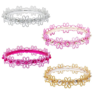 Pink Poppy - Glitter Flower Bangle