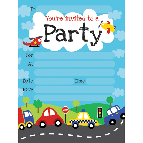 Artwrap - Party Invitations 20 sheet Pad - Motor Mania