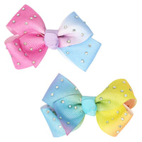Pink Poppy - Gem Ombre Bow Clips