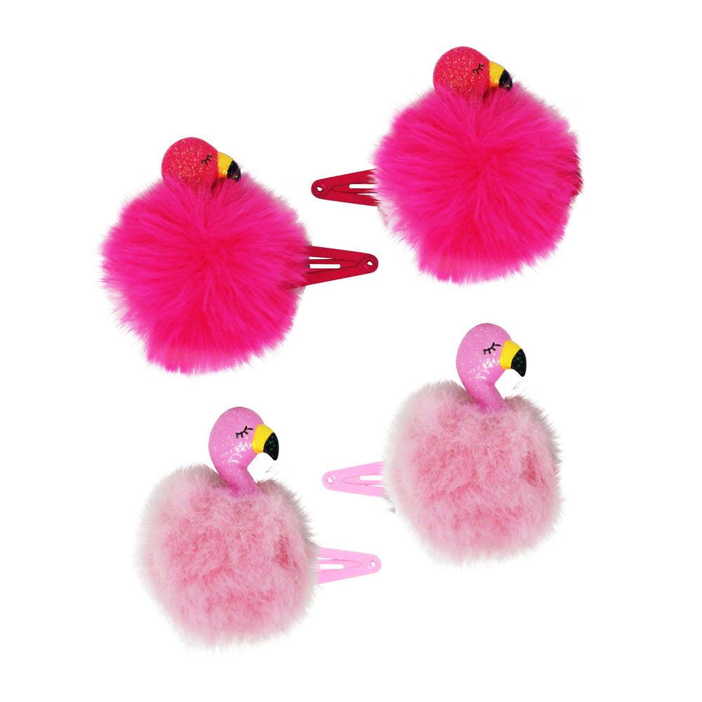 Pink Poppy - Flamingo Fluffy Hair Clips