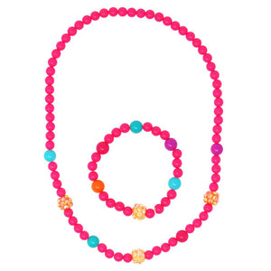 Pink Poppy - Sparkling Beads Necklace and Bracelet Set