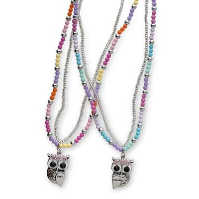 Pink Poppy - Best Friend Owl Necklace Set