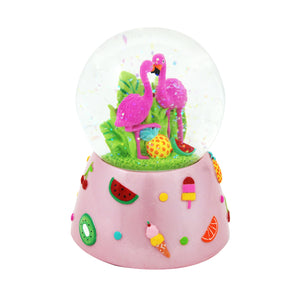 Pink Poppy - Snow Globe, Musical - Fabulous Flamingo