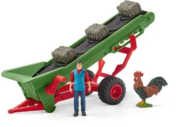Schleich - Farm World - Hay Conveyor with Farmer - 42377