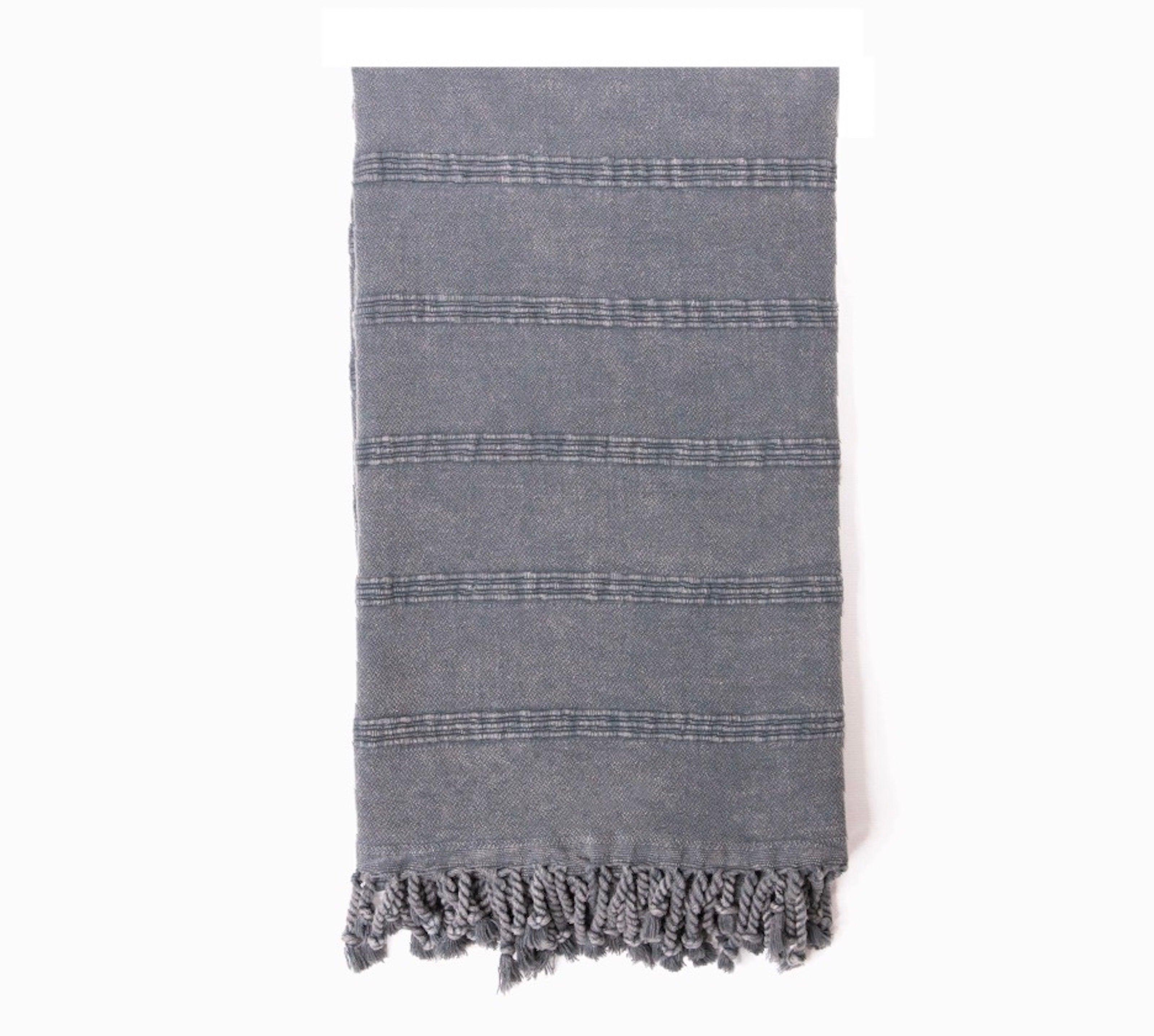 "Stone-Washed Thick Turkish Towel Mint %100 Cotton | 70""x30"""