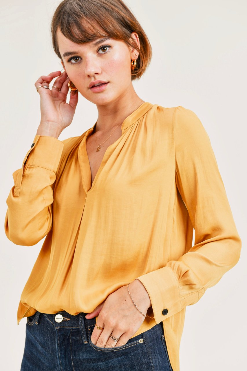 Silky fabric long sleeve blouse