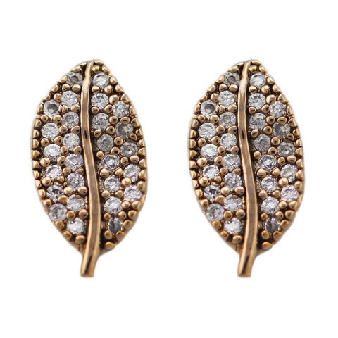 Tai - CZ Leaf Stud Earring Antique Gold