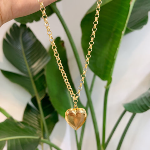 FYB - Link Chain Vintage Heart Locket Necklace Gold