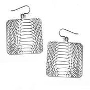 Daphne Olive - Square Snake Skin Earring Silver