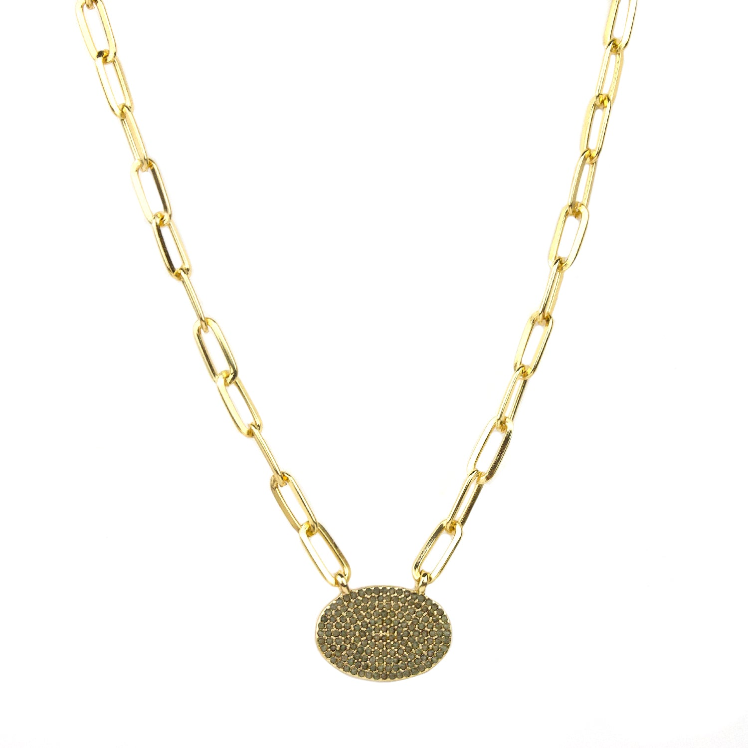 "Marlyn Schiff - 16"" Chain Link with Oval Charm Necklace"