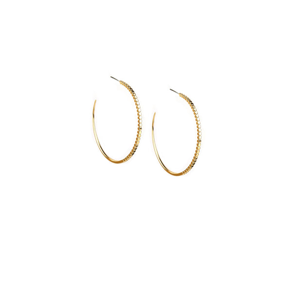 "Marlyn Schiff - 1 1/4"" Half Beaded Post Hoop Earring"