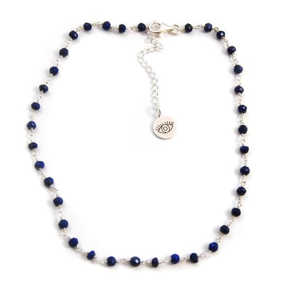 FYB - Wish Choker Necklace - Lapis w/Good Visionary Charm Silver