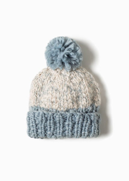 Look - Two Tone Mango Yarn PomPom Hat