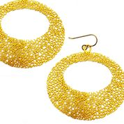 Daphne Olive - Large Oval Texture Earrings 20K Gold
