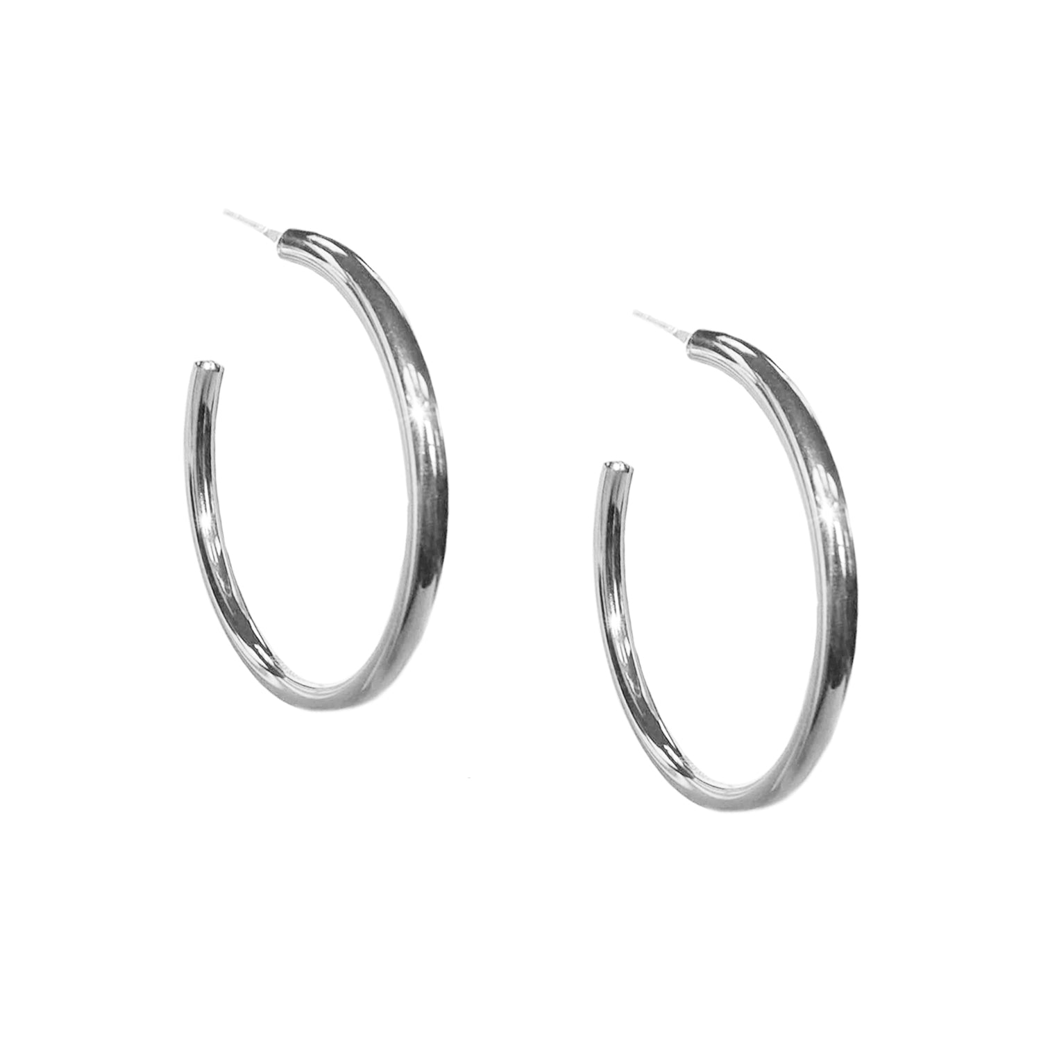 Marlyn Schiff - Stainless Large Hollow Hoop Earring