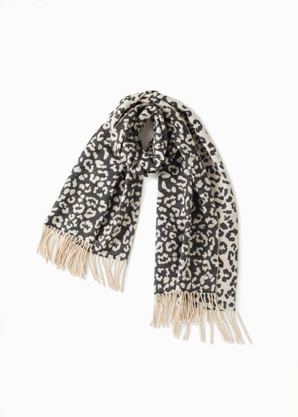 Look - Black Reversible Leopard Scarf