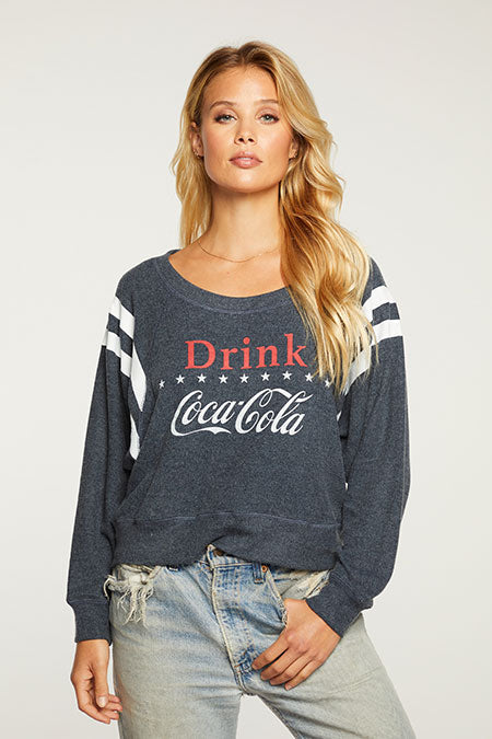 Chaser - Bliss Knit Cropped Coca Cola Long Sleeve Drop Shoulder Pullover
