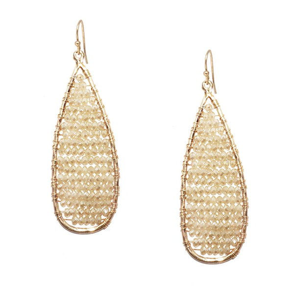 Marlyn Schiff - Elongated Teardrop w/Crystals Earring