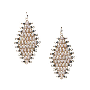 *Marlyn Schiff - Matte Grey Diamond Shaped Crystal Earring