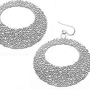 Daphne Olive - Large Oval Texture Earrings Silver