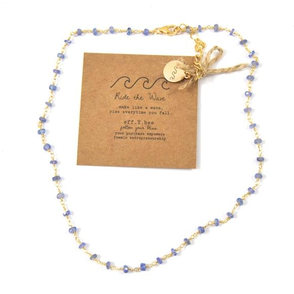 FYB - Wish Choker Necklace - Tanzanite w/Ride the Wave Charm Gold
