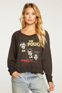 Chaser - The Police Cropped Boxy Long Sleeve Raglan Pull
