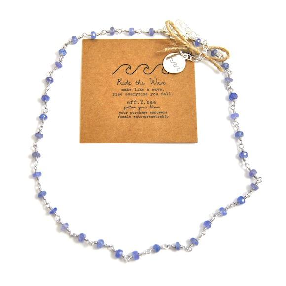 FYB - Wish Choker Necklace - Tanzanite w/Ride the Wave Charm Silver