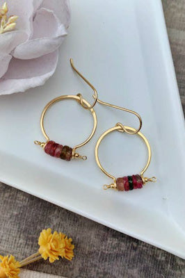 Pink Tourmaline Gold Filled Medium Drop Hoops