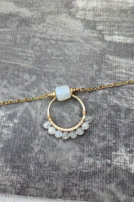Moonstone Hoop Pendant Necklace