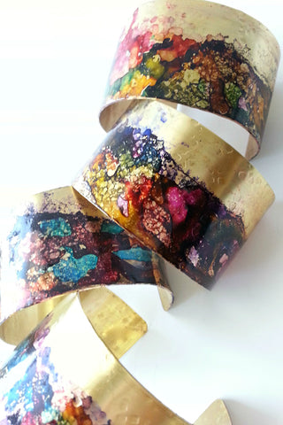 Ink Splatter Brass Cuff Bracelet