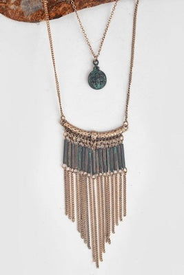 Layered Gold & Patina Statement Necklace