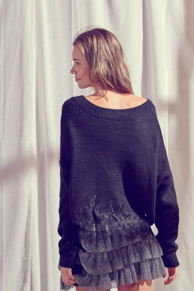 Lace Hem Sweater