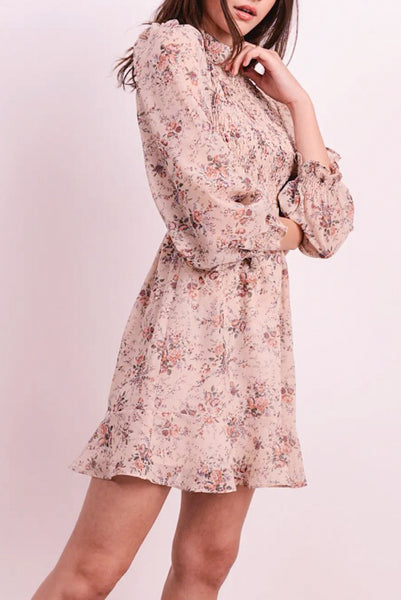 Floral Long Sleeve Mini Dress