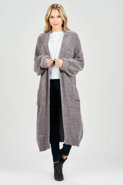 Oversized Velour Knit Cardigan