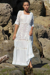 Victoria Long Dress With Lace - Ivory