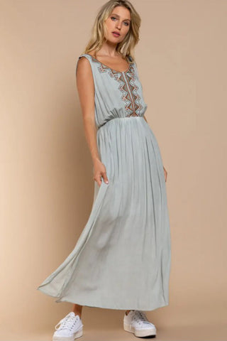 Embroidered Gauze Maxi Dress