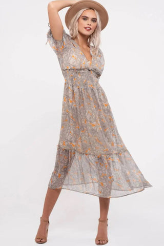 Paisley Puff Sleeve Midi Dress