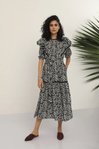 Nita Dress - Black and White Jungle Print