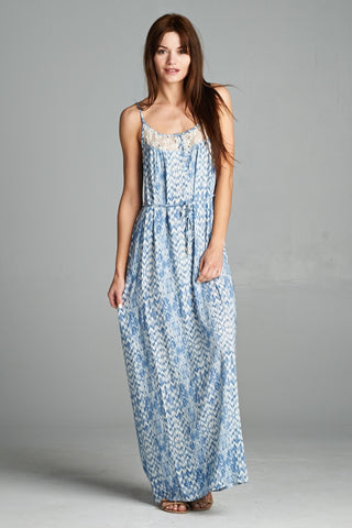 Ikat Maxi Dress wth Lace Detail