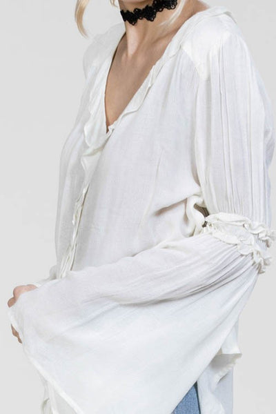 Ivory Bell-Sleeved Blouse