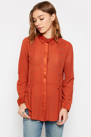 Lace-Up Detail Rust Blouse