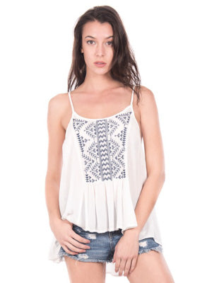 Embroidered Strappy Tank Top