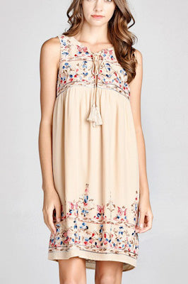 Embroidered Taupe Mini Dress
