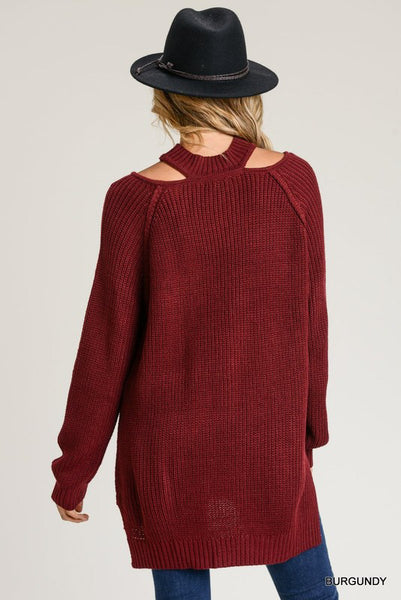 Cutout Collar Sweater