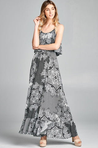 Mandala Ruffled Maxi Dress