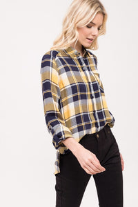 Mixed Plaid Button Down Shirt
