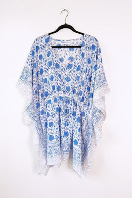 Floral Cotton Kaftan - Blue