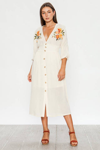 Embroidered Button-Down Midi Dress