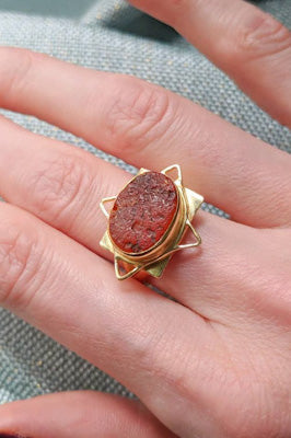 Carnelian and Brass Ring