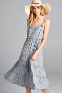 Washed Woven Midi Dress